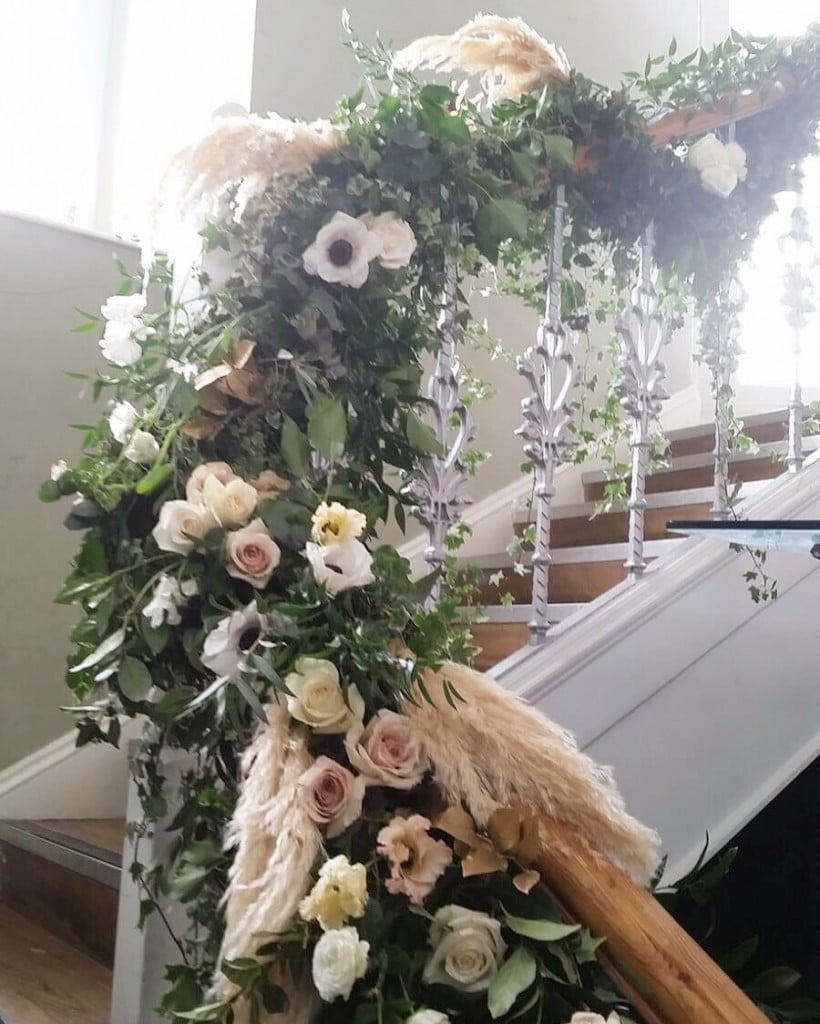 staircase garland event flowers