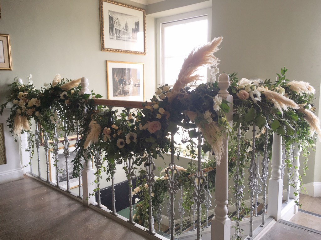 floral staircase garland by Joanne Truby Floral Design